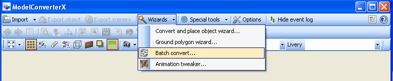 MCX wizard menu