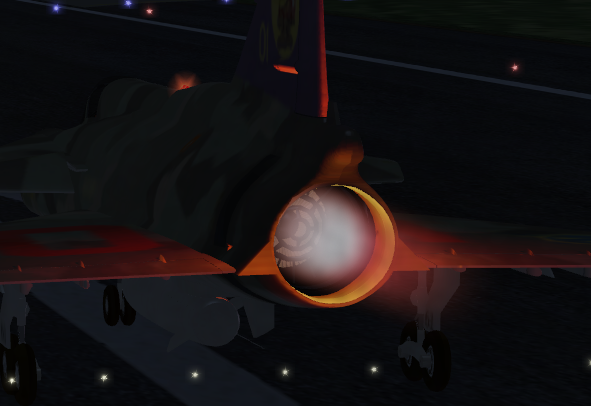 Notice the light effect on the fuselage from the afterburner flame.