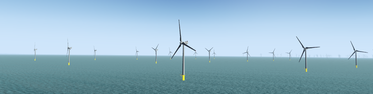 osm2city placed wind turbines at Rød Sand 2 in Denmark.