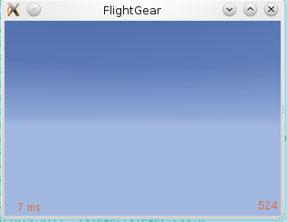 Screen shot showing FlightGear 3.2 using the minimal startup profile with frame spacing and frame counter displayed.