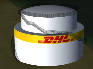 DHL-Tank at fuel storage area on apron 4