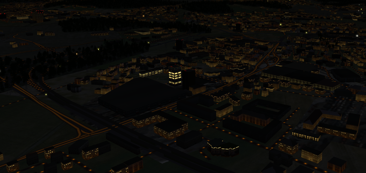 osm2city generated buildings and roads with light effects at night