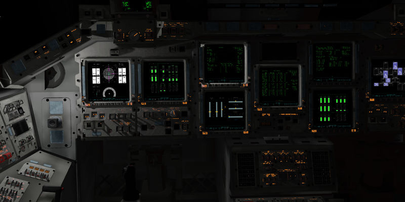 Example of a raytracer generated lightmap for the Space Shuttle cockpit