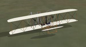 The Wright Flyer on the ground.