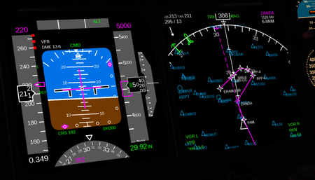 Boeing 747-400 PFD and ND approach EHAM 18R.png