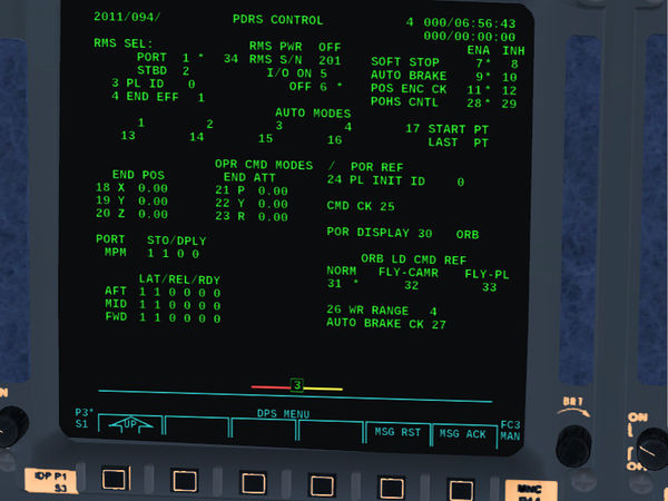 PDRS control display of the Space Shuttle