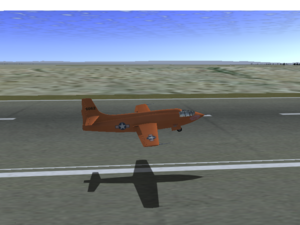 The X-1 landing at Edwards AFB.