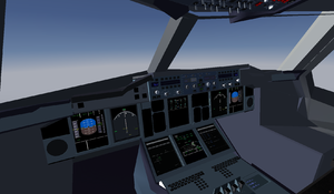 A380 Cockpit during managed climb