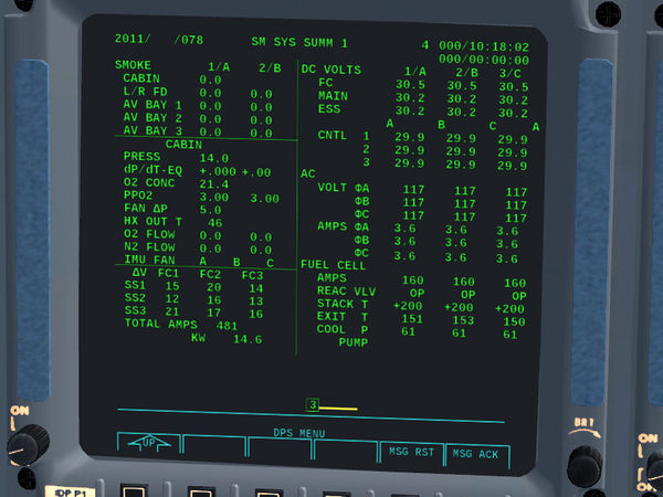 SM SYS SUMM 1 display of the Space Shuttle