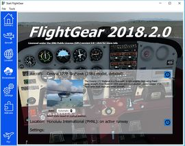 The aircraft page of the Qt launcher for FlightGear 2018.2 as rendered on Windows 10
