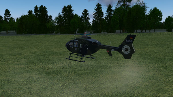 Rotor wash rendered on volumetric grass