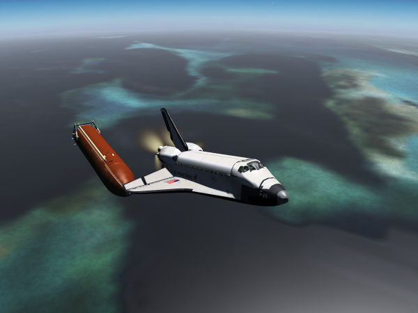 The Space Shuttle during an RTLS abort — after ET separation
