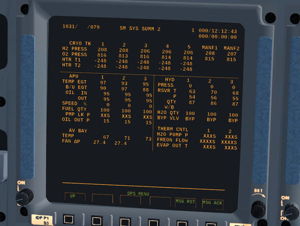 SM SYS SUMM 2 display of the Space Shuttle