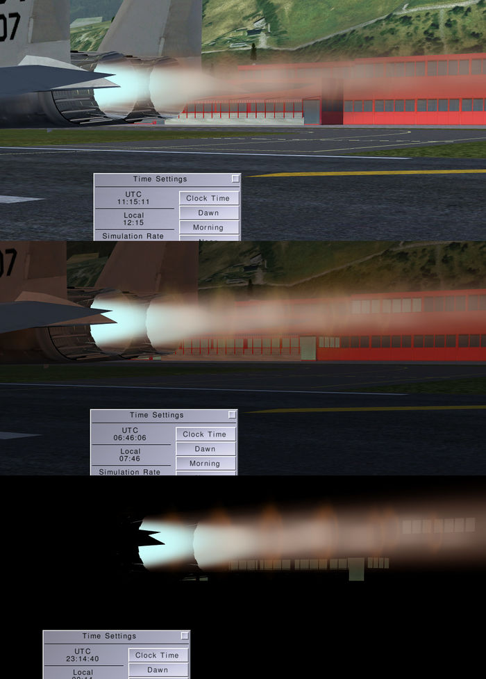 This shows the F-15 afterburner at different ambient light.