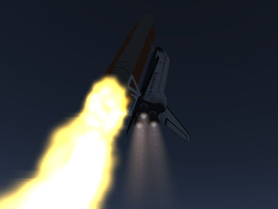 Space Shuttle main engine flames during early ascent