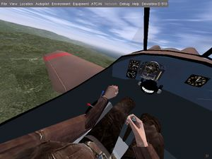 Cockpit with pilot, instruments and joystick