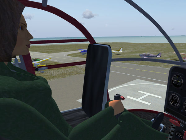 Simulated co-pilot Amelia controlling the Alouette-III