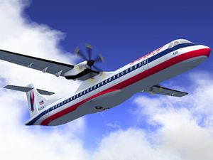 The ATR 72-500 in the American Eagle livery