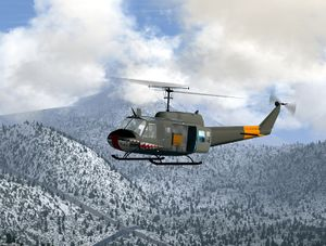 "The ""Huey"" in flight"
