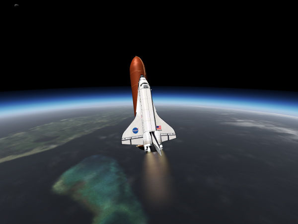 The Space Shuttle during an RTLS abort — after pitch around