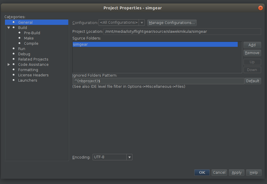 NetBeans config - simgear source configuration