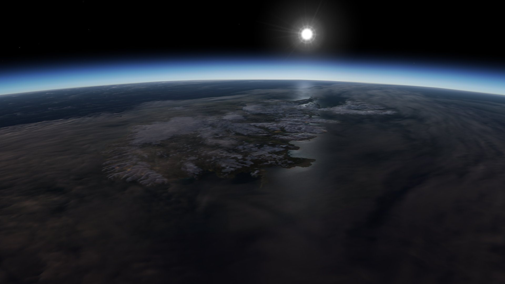 Screenshot of Iceland from space