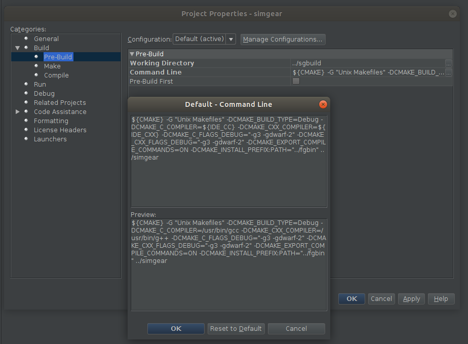 NetBeans config - simgear prebuild (CMAKE) options