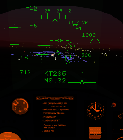 ILS approach at KLVK. The semi circles are radar tracks of other aircrafts.