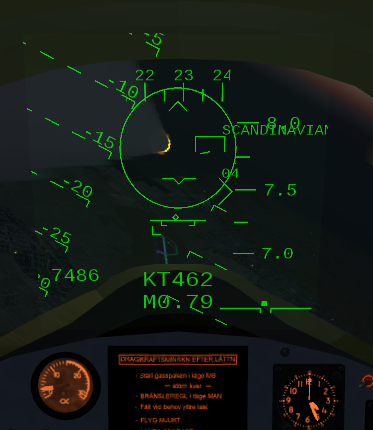 HUD in tactical mode. Shown after releasing an air-to-air RB-24J missile.
