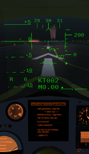 HUD in takeoff mode, showing the distance scale.