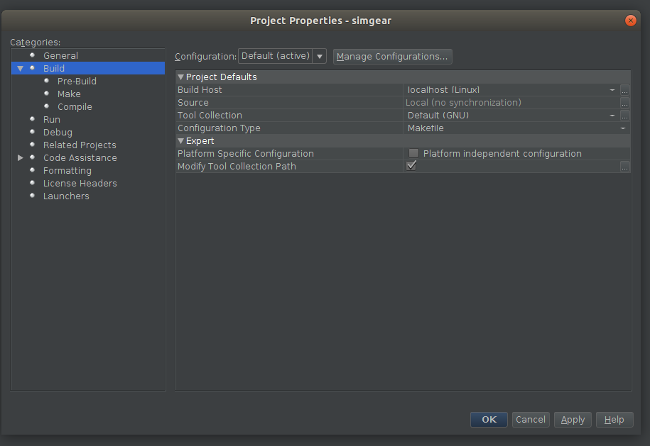 NetBeans config - simgear build options