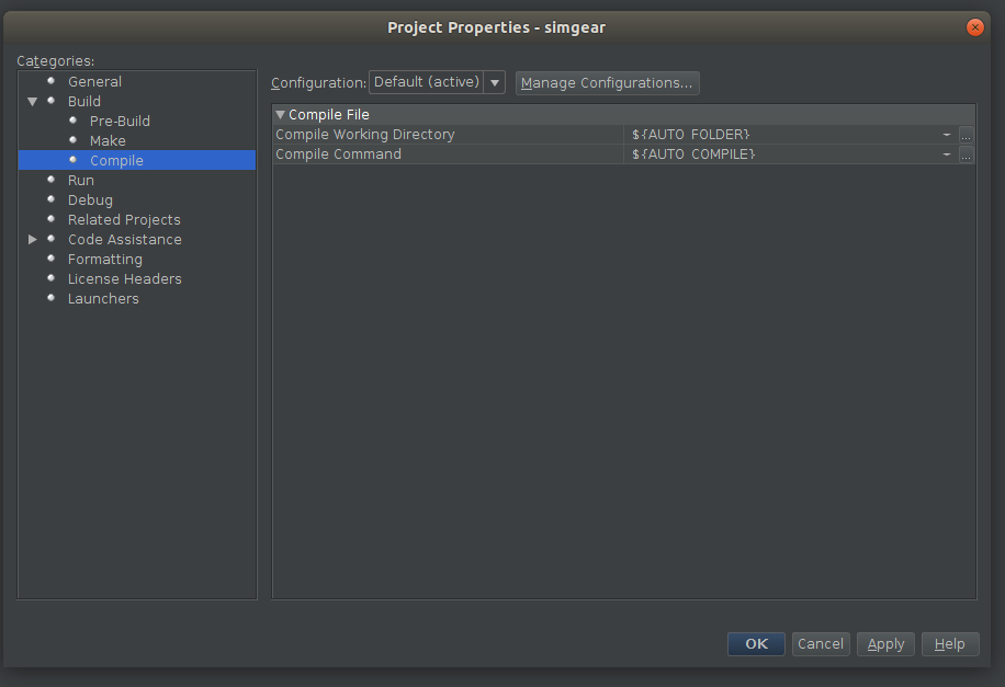 NetBeans config - simgear compile options