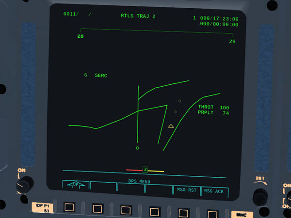 RTLS TRAJ 2 display of the Space Shuttle