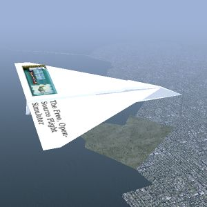A paper airplane soaring over San Francisco, California