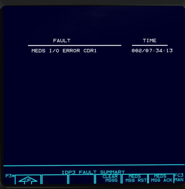IDP FAULT SUMMARY display of the Space Shuttle