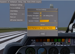 FGCom dialog available in FlightGear versions later than 2.12