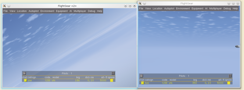 "Screenshot demonstrating a ""peer-to-peer"" setup between two FlightGear instances running on the same machine via localhost (127.0.0.1) without any multiplayer server."