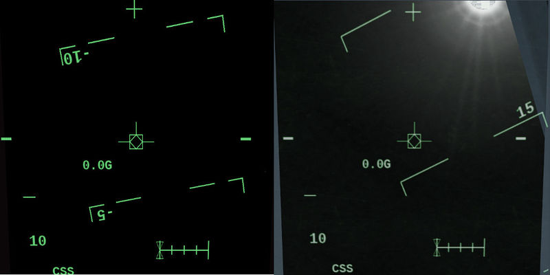 Comparison between a bare canvas HUD (left) and the ALS HUD shader run over it (right)