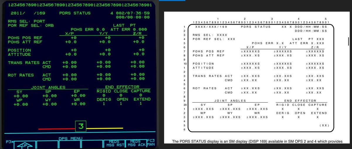 PDRS STATUS display (DISP 169) of the Space Shuttle