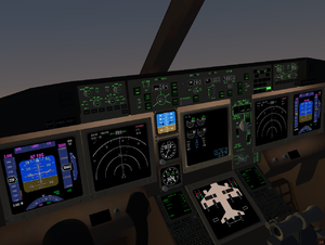 The 3D cockpit of a 777-300