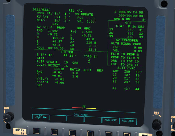 REL NAV display of the Space Shuttle
