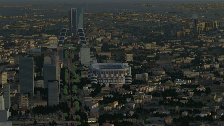 A hazy dawn over Madrid in FlightGear 2020.3 LTS with the 1st world-build of OSM2City