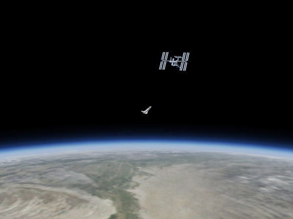 The Space Shuttle approaching ISS